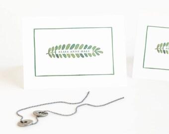 Botanical Personalized Stationery Set, Custom Note Cards, Women's Folded Stationery // SINGLE LEAF