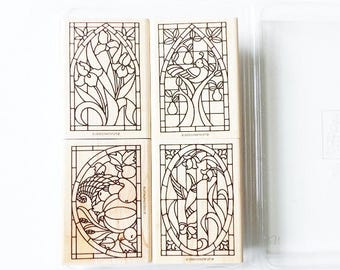 Set of 4 Stained Glass Rubber Stamps, 1998 Stampin' Up Retired