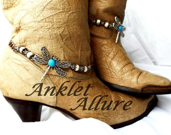 FLy Dragonfly Boot Chains Turquoise Boot Jewelry Southwestern Boot Bracelets Foot Jewelry