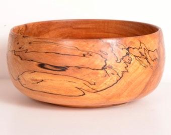 Turned Wood Bowl, Spalted Applewood Bowl, Handturned, Serving Bowl
