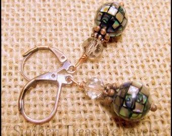 Vintage Style Art Deco MOP Earrings, Downton Abbey Earrings, Mermaid Earrings, Mosaic Pearl Earrings, Abalone Shell Earrings