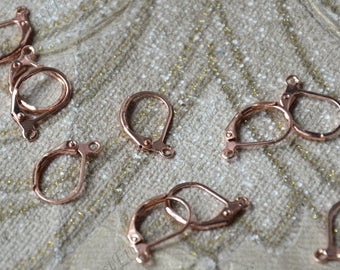 20  pcs of Rose golden Plated brass ear hoops, earwire finding,fish Hook,earrings findings,Fishhook Earring Findings