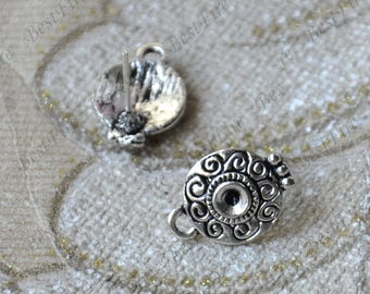 10 pcs Antique silver Flower Ear Studs,Blank Earwires Findings,Earings Findings,earring base findings