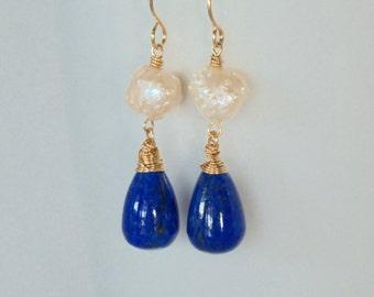 Lapis Lazuli Earrings, Blue Stone Earrings, Drusy Druzy Rosebud Pearl Earrings,  14k Gold Filled Earrings, Elegant Earrings