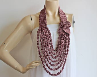 Antique Pink Necklace- Rose  Necklace -  Jewelry Scarf-Handmade Loop Scarf - Chenille Necklace