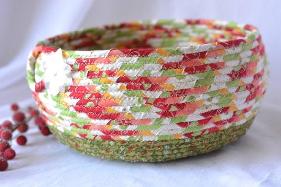 Christmas Bowl, Artisan Quilted Christmas Basket, Homemade Christmas Gift Basket, Holiday Decoration,  Handmade Coiled Basket