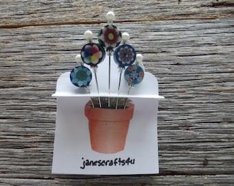 Beaded Straight Pins (5), Corsage Pins, Hat Pins