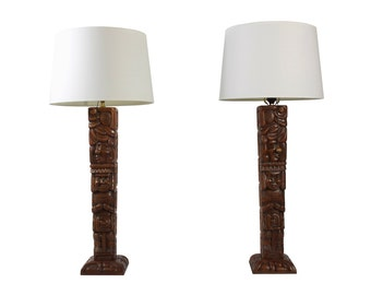 Mid Century Lamp Pair - Tall Statement Lighting - Carved Wood - Table Lamps