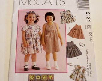 Dress Pattern McCall's 2131: Toddlers' Dresses and Headband Sizes 2,3,4 UNCUT - Children's Clothing Pattern