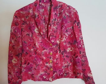 Vintage 1980's fuchsia long sleeved cropped trophy jacket