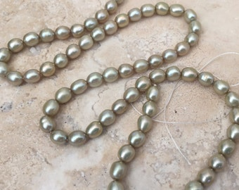 Light Green Rice Pearl Beads, Sage Green Rice Pearls, 5.5 x 4mm approx. 16 inch strand
