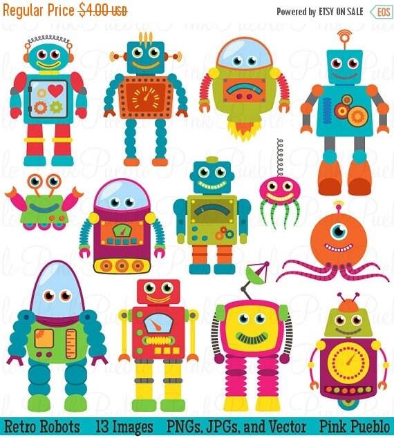 TEACHER SALE Robots Clip Art Clipart, Retro Robot Party Clipart Clip Art Vectors - Commercial and Personal Use