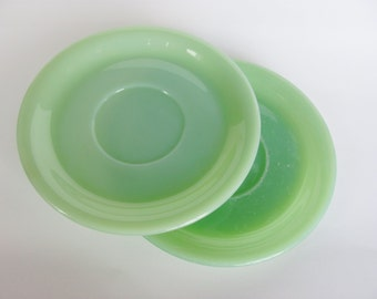 Fire King Jadeite Saucers 1940s Anchor Hocking Restaurant Ware Oven Ware Geen Glass Fire-King Dinnerware (Set of 2)