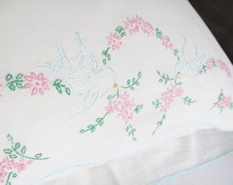 Pillowcase White With Hand Embroidered Bluebirds And Pink Daisies Blue Tatted Edge