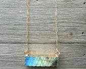 SALE // Labradorite Bar Necklace // last chance