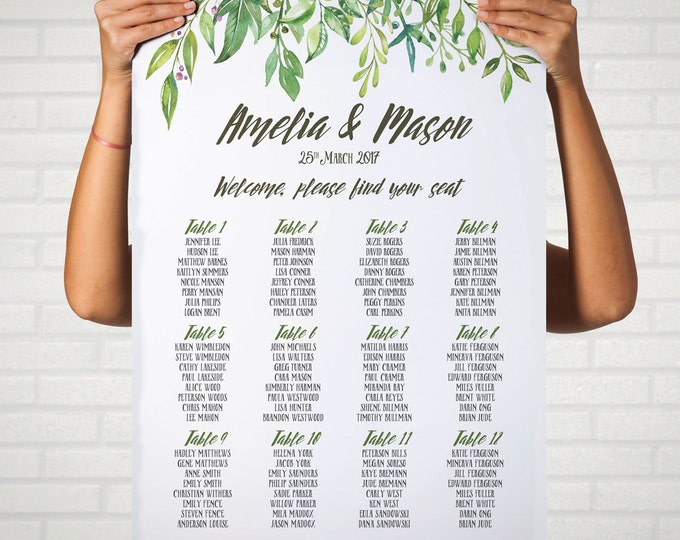 Greenery Wedding Seating Chart, Leafy Wreath, Personalized Seating Plan, Greenery Theme Wedding, DIY Print Your Own