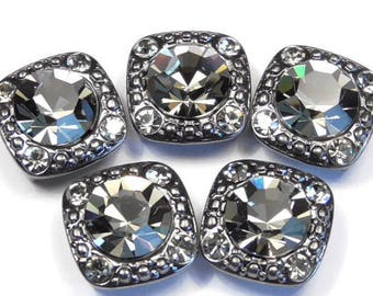"Five 2 Hole Slider Beads 2 Hole Spacer Beads 8mm & 2mm Black Diamond Austrian Crystal Square 1/2"" Hematite Metal Frame"