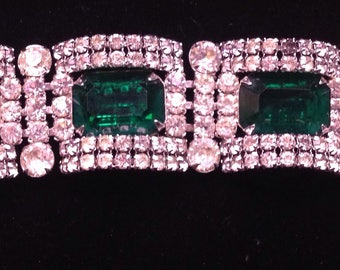 Signed Kramer of New York green and white bracelet