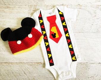 First Birthday Mickey Suspender Tie Bodysuit