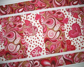 Valentine Table Runner  Hearts, Love and Swirls in red, pink,  quilted, fabric from Hoffman