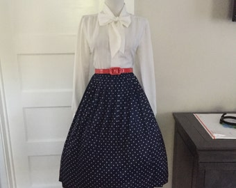 VINTAGE Navy and White Polka Dot Accordion Swing Style Pleated Full Skirt
