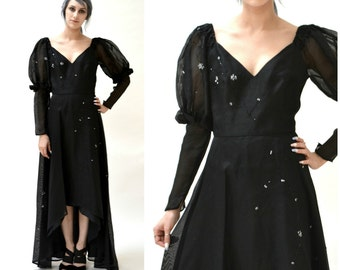 Black Silk Evening Gown Dress Size Small Medium Open Shoulder// 80s Black Dress Size Small Medium Black Silk Dress Beaded Evening Gown