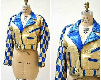 Vintage Leather Motorcycle Jacket in Metallic Gold and Blue Checker Size Large XL by L.A Roxx// 90s Metallic Silver Leather Jacket