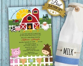 Baby Shower Farm Animals Invitation - Its a boy girl twins neutral - Digital File - Barnyard Invite