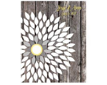 Sunflower Guest Book, Rustic Wedding Guestbook, Bridal Shower Guest Book, Yellow and Grey Wedding, Sunflower, Dahlia, 16x20 85 Signature