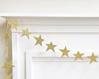 Gold or Silver Custom Double Sided Glitter Paper Star Banner, Garland