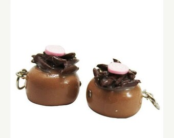 Miniature Chocolate and Candy Roll Polymer Clay Foods Supplies for Beaded Jewelry Charm, 2 pcs