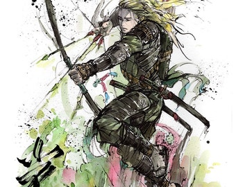 8x10 PRINTSamurai Archer Legolas from Lord of the Rings Japanese Calligraphy LIGHT