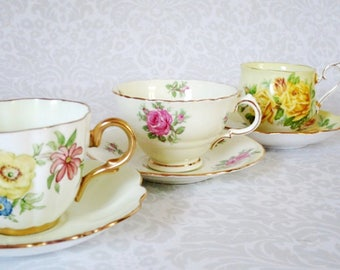 Vintage Tea Cups and Saucers 3 Sets, Pastel Summer Decor Gift Ideas, Vintage Teacup and Saucer Sets, Wedding Bridal Gifts