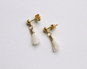 tiny tassel -earrings (mini tassel charms on gold plated earring posts)