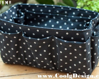 Handbag organizer insert practical and Easy to Use blue polka dots Medium and large