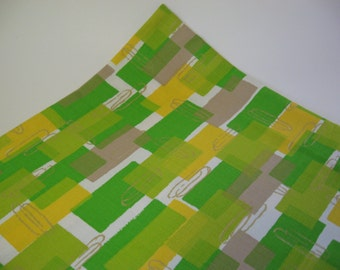 Brilliant mod rectangles with paperclip detail vintage barkcloth cotton fabric greens yellow taupe one yard
