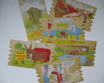 Odd mid century vintage post cards plak card Komic Kards Japan  6 to choose from pin up cartoons