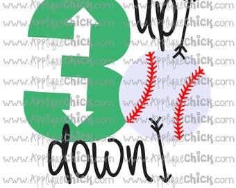 3 Up 3 down Basball SVG Clipart