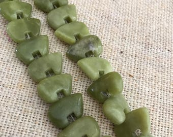 Butter Jade Zuni Bear Beads  16-17 beads