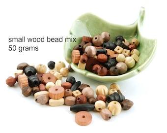 Czech Wood Bead Mix - small naturals, brown, tan, black - 50 grams