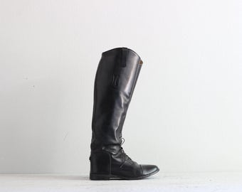 Black Riding Boots . Womens Vintage Boots . Black Leather Boots . 40s 1940s Flat Boots