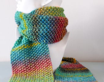 Multicoloured Knit Scarf - Green Chunky Blue Red Yellow Bright Merino Wool Scarf Moss Stitch Winter Accessory Unisex by Emma Dickie Design