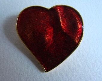 YSL Yves Saint Laurent Red Resin Heart Brooch or Pendant