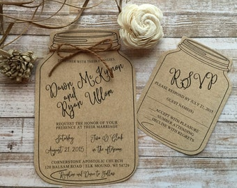 rustic wedding invitation mason jar wedding invitation shabby chic wedding invitation barn wedding