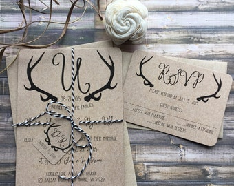 Rustic Wedding Invitation, Antler Wedding Invitation, Shabby Chic Wedding Invitation, Barn Wedding Invitation, Country Wedding