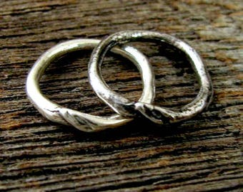 Sterling Silver Links  - 2 Rustic Round Connector -  Dogwood Branch with Budding Leaf - 16mm   AC182a