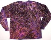 XXL  Shibori Men's Long Sleeve Tie Dye T Shirt Purple Black