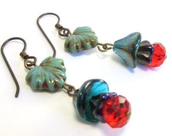 Bohemian Flowers Czech Glass Earrings, Boho Chic Gypsy Look w Turquoise Leaf Beads, Blue and Red Flowers & Hypoallergenic Niobium Earwires