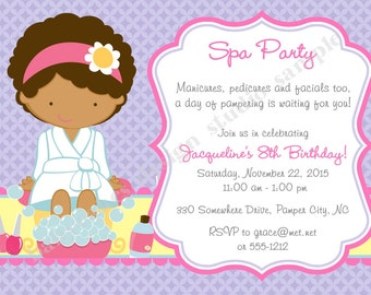 Spa Party Invitation Spa Birthday Party Invitation invite Spa Invitation invite Spa day sleepover printable CHOOSE YOUR GIRL