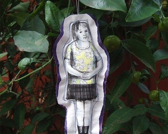 art doll ornament christmas gift fabric textile soft original drawing girl figure home decoration wall decor hand painted OOAK